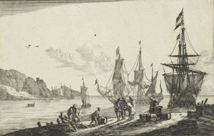 Haven met zeilschepen en zeelieden op de kade, Reinier Nooms, 1656 - Rijksmuseum