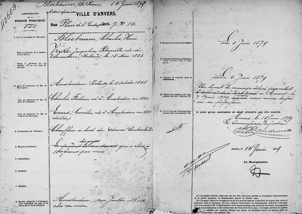 Foreigner file of Carel Bloebaum from Amsterdam (1879). Image: Felixarchief-City Archives of Antwerp, Vreemdelingendossiers, no. 40605.