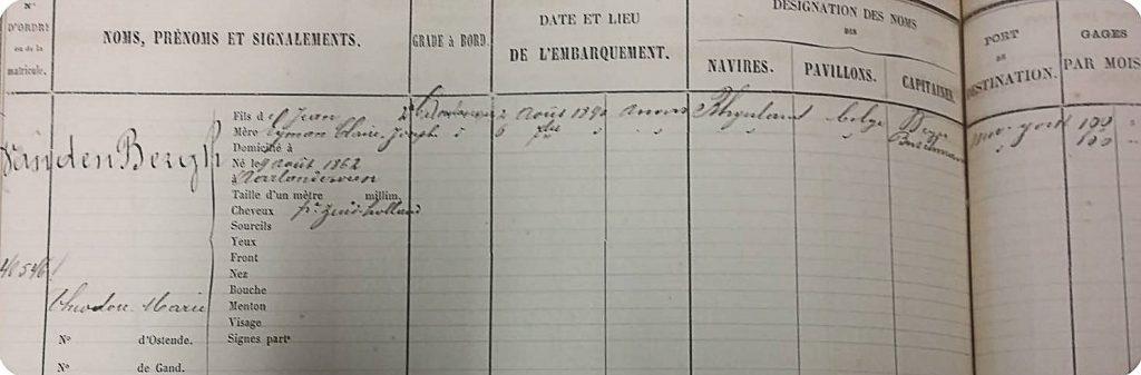 Career of Theodore van den Bergh from Aarlanderveen (1890). Image: State Archives Antwerp, Archief van de Dienst Schepenbeheer Antwerpen en Rechtsvoorgangers, 1845-2008, Registratie van zeelieden in het stamboek, no. 40546.
